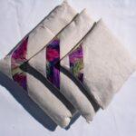 Lavender Bag - purple feather diagonal