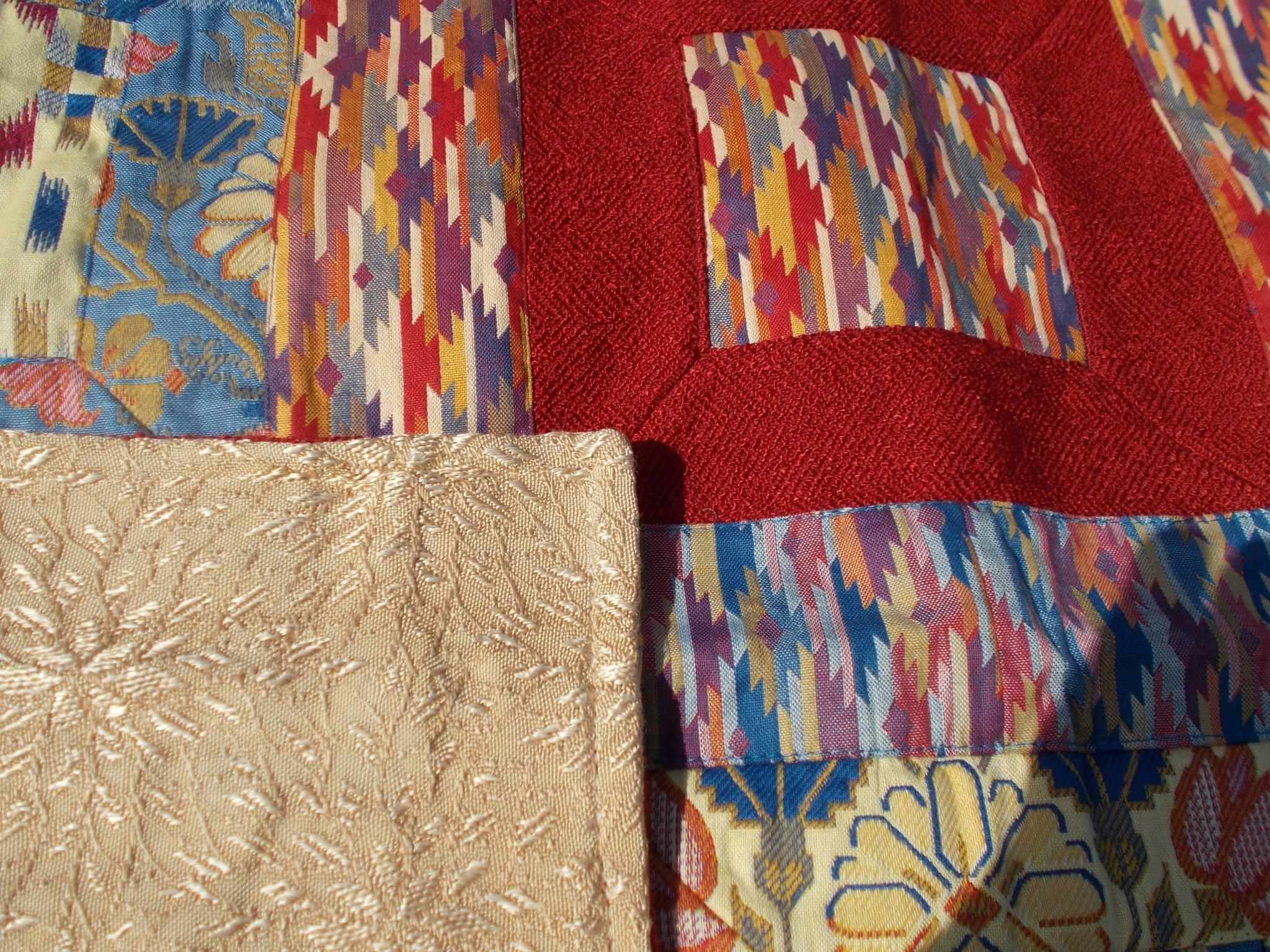 Red Patchwork Quilt with reverse