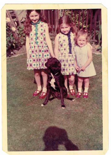3 sisters, 2 in spotted dresses, I'm the one who wore both the dresses for years after they were handed down.